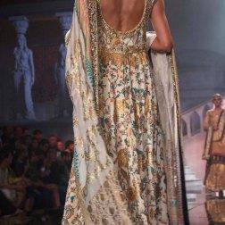 Suneet Varma - Embroidered Ivory Anarkali with Gold Work Back - BMW India Bridal Fashion Week 2015