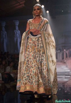 Suneet Varma - Embroidered Ivory Anarkali with Gold Work Front - BMW India Bridal Fashion Week 2015