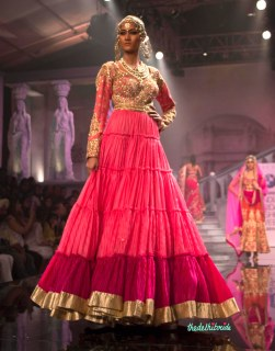 Suneet Varma - Flared Pink Anarkali with Heavily Embroidered Yoke - BMW India Bridal Fashion Week 2015
