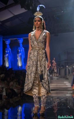 Suneet Varma - Gold & Blue Jacket With Pants - BMW India Bridal Fashion Week 2015