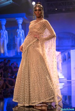 Suneet Varma - Heavily Embroidered Beige Lehenga Embellished with Crystals - BMW India Bridal Fashion Week 2015