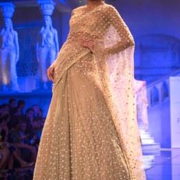 Suneet Varma - Heavily Embroidered Beige Lehenga Embellished with Crystals - BMW India Bridal Fashion Week 2015