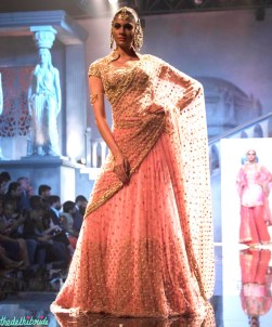 Suneet Varma - Heavily Embroidered Blush Pink Lehenga Embellished with Crystals - BMW India Bridal Fashion Week 2015