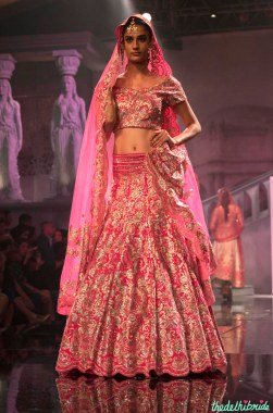 Suneet Varma - Heavily Embroidered Fuschia Pink Bridal Lehenga - BMW India Bridal Fashion Week 2015