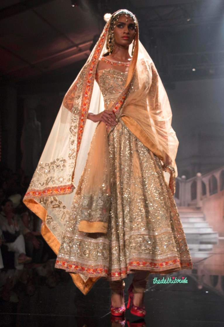 Suneet Varma - Heavily Embroidered Pale Orange Anarkali - BMW India Bridal Fashion Week 2015