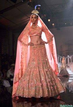 Suneet Varma - Heavily Embroidered Peach Lehenga with 3D floral work - BMW India Bridal Fashion Week 2015