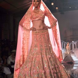 Suneet Varma - Heavily Embroidered Peach Lehenga with 3D floral work - BMW India Bridal Fashion Week 2015