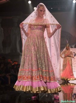 Suneet Varma - Heavily Embroidered Pink Kurta with Lehenga - BMW India Bridal Fashion Week 2015