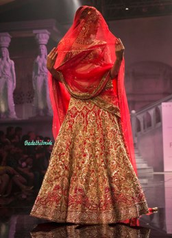 Suneet Varma - Heavily Embroidered Red Bridal Lehenga - BMW India Bridal Fashion Week 2015