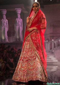 Suneet Varma - Heavily Embroidered Red Bridal Lehenga with Gold Work - BMW India Bridal Fashion Week 2015
