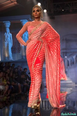 Suneet Varma - Heavily Embroidered Shaded Pink and Coral Sari - BMW India Bridal Fashion Week 2015