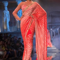 Suneet Varma - Heavily Embroidered Shaded Pink and Coral Sari - BMW India Bridal Fashion Week 2015