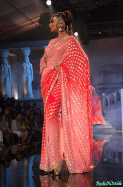 Suneet Varma - Heavily Embroidered Shaded Pink and Coral Sari Side - BMW India Bridal Fashion Week 2015