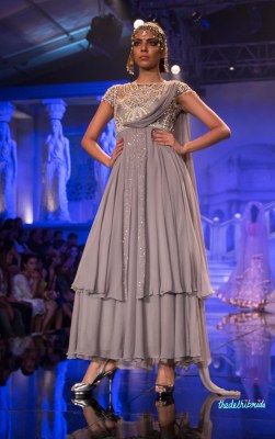 Suneet Varma - Pale Grey Jacket Anarkali with Embroidered Yoke Embellished with Swarovski Crystals - BMW India Bridal Fashion Week 2015