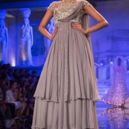 Suneet Varma - Pale Grey Jacket Anarkali with Embroidered Yoke Embellished with Swarovski Crystals - BMW India Bridal Fashion Week 2015