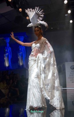Suneet Varma - White Threadwork Big Motif Sari - BMW India Bridal Fashion Week 2015