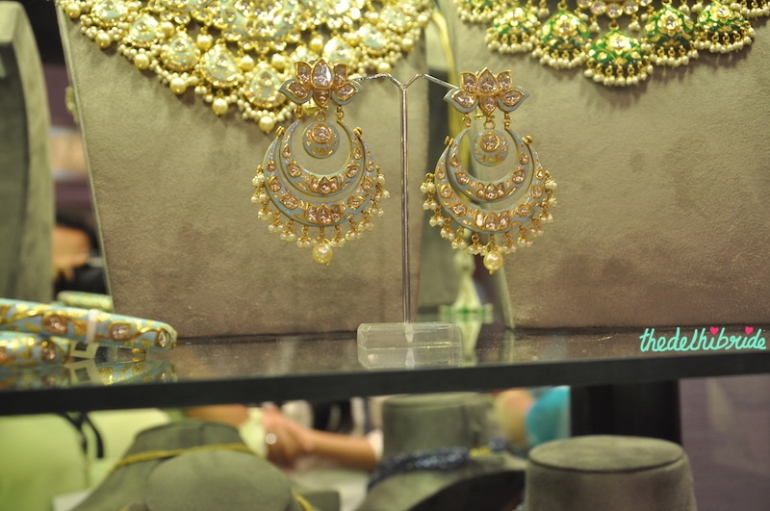 Sunita Shekhawat - Blue Meenakari Chand Bali Earrings - Vogue Wedding Show 2015