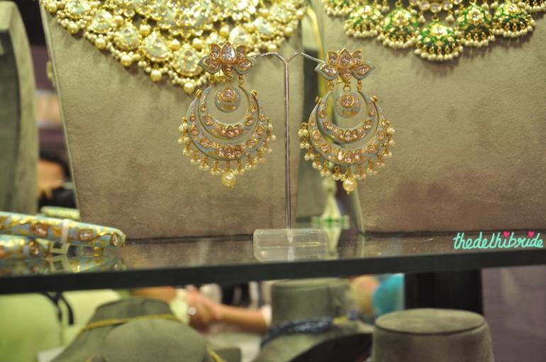 Sunita Shekhawat - Blue Meenakari Chand Bali Earrings - Vogue Wedding Show 2015