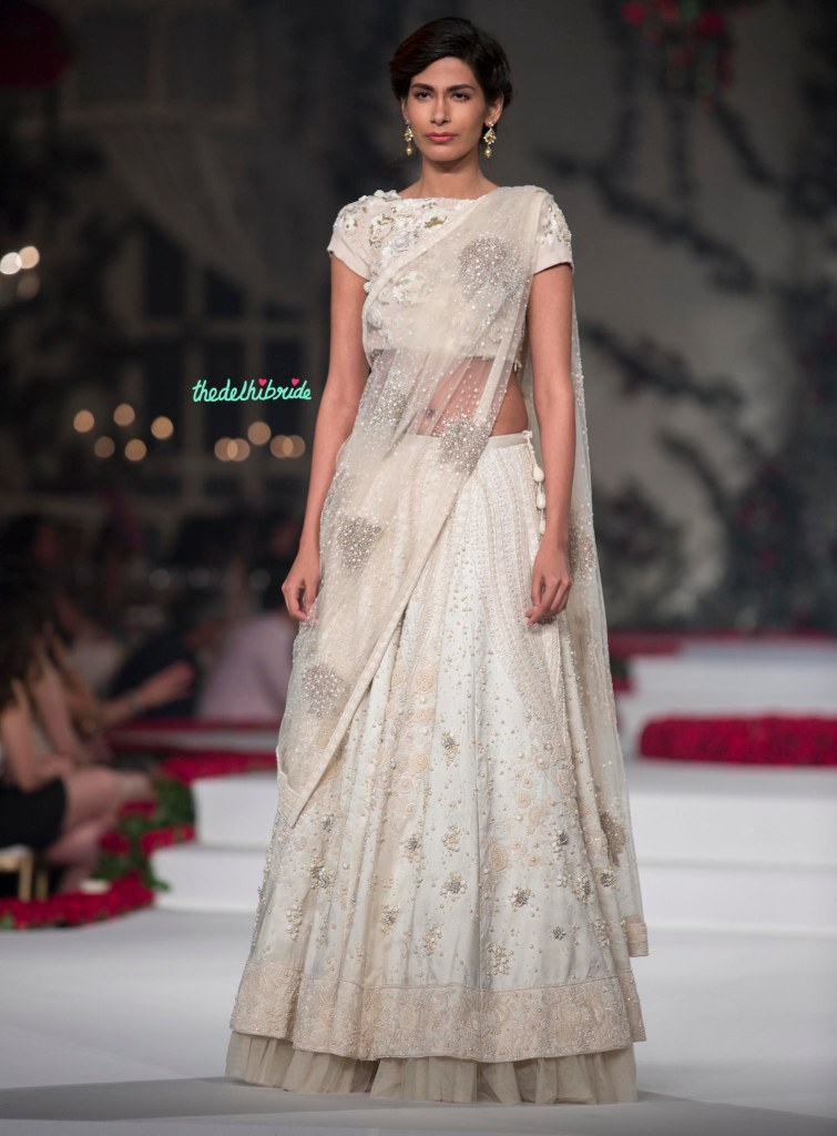 Top Pick Ivory floral lehenga with floral threadwork, pearls and beads detailing - with floral applique blouse 1 - Varun Bahl - Amazon India Couture Week 2015