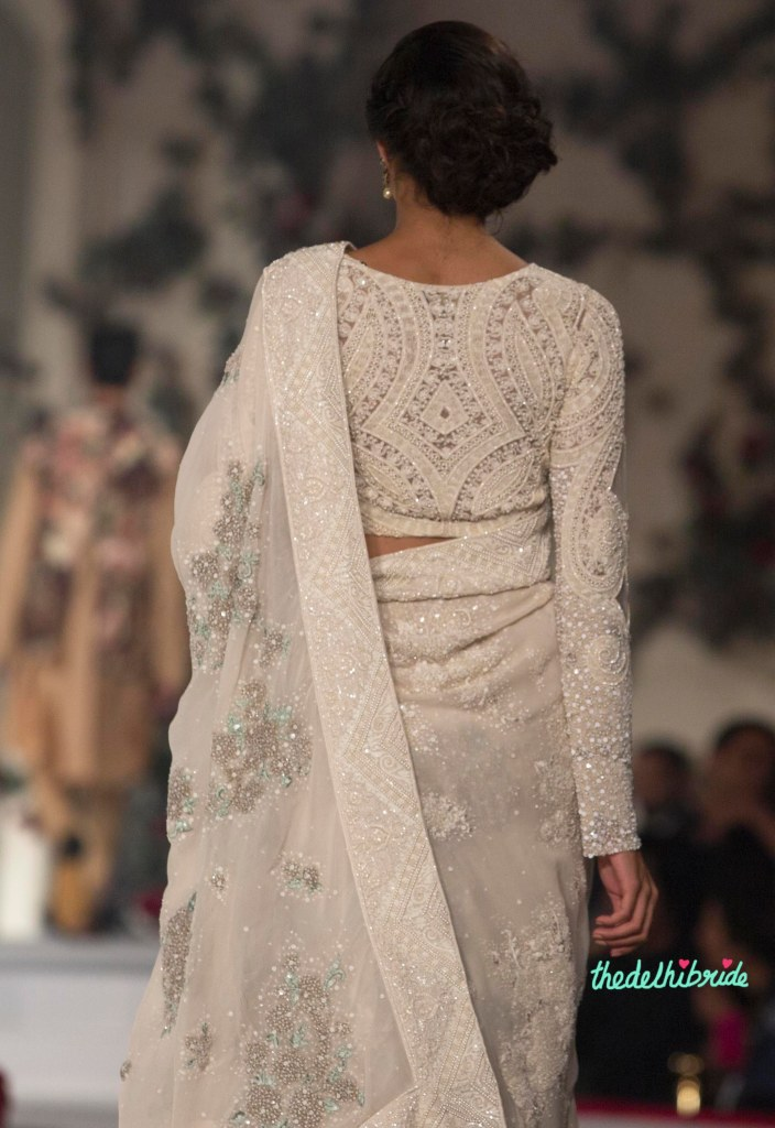 Top Pick Ivory Sari with Pale Grey _ Green Floral Motifs topped with Ivory Sequins and with Heavy Embroidery of Pearls on Border _ Blouse 1 - Varun Bahl - Amazon India Couture Week 2015