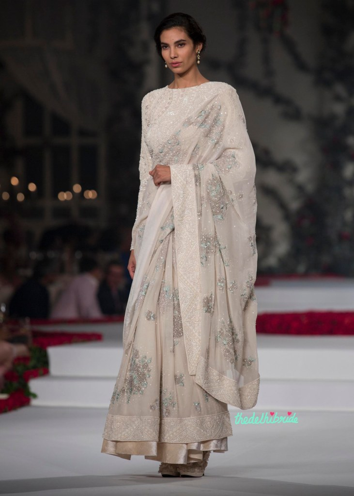Top Pick Ivory Sari with Pale Grey _ Green Floral Motifs topped with Ivory Sequins and with Heavy Embroidery of Pearls on Border _ Blouse 2 - Varun Bahl - Amazon India Couture Week 2015