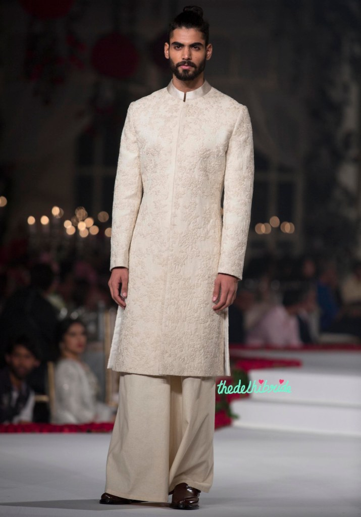 Top Pick Ivory Sherwani for groom with Floral Hand Embroidery and wide-legged bottoms - Varun Bahl - Amazon India Couture Week 2015
