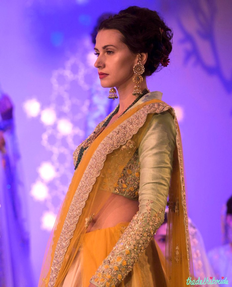 Top Picks blouse pale blue with yellow ivory and silver embroidery - Anju Modi - Amazon India Couture Week 2015