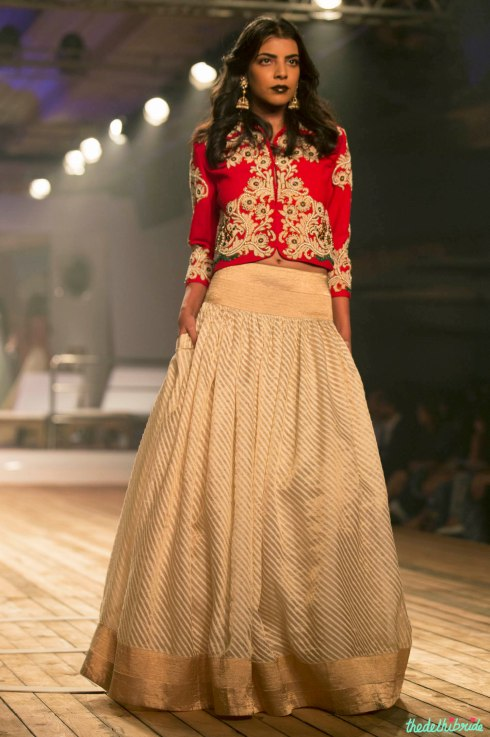 Top Picks Gold & ivory striped Silk Lehenga with Embroidered Earthy Red Jacket 1 - Monisha Jaisingh - Amazon India Couture Week 2015