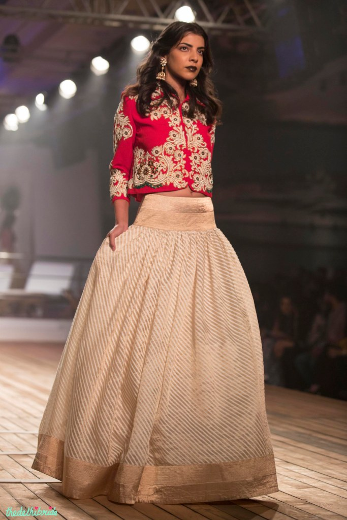 Top Picks Gold & ivory striped Silk Lehenga with Embroidered Earthy Red Jacket 2 - Monisha Jaisingh - Amazon India Couture Week 2015jpg