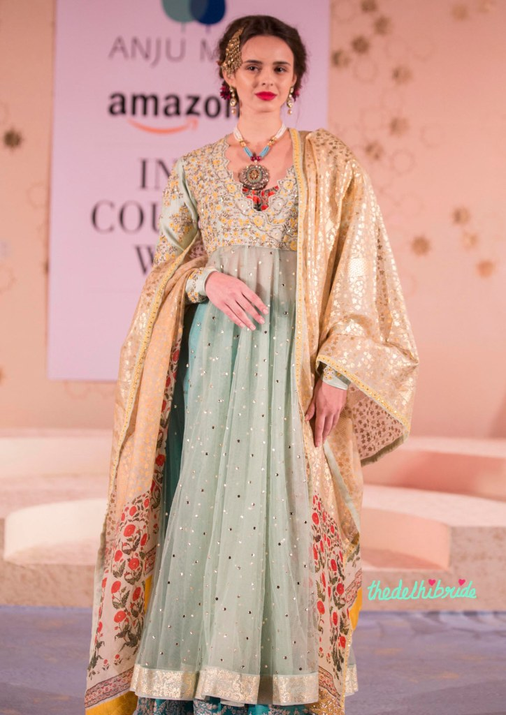 Top Picks - Pale Blue Anarkali with Beige Gold Foil Print Dupatta - Anju Modi - Amazon India Couture Week 2015