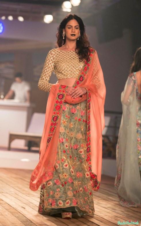 Top Picks Pale Blue Floral 3D Applique Lehenga with Silk lattice Blouse Sunset Oranage Dupatta 1 - Monisha Jaising - Amazon India Couture Week 2015