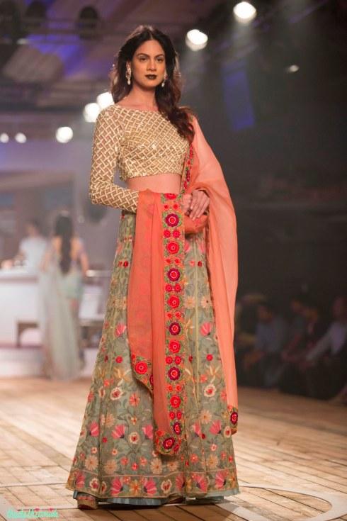Top Picks Pale Blue Floral 3D Applique Lehenga with Silk lattice Blouse Sunset Oranage Dupatta 2 - Monisha Jaising - Amazon India Couture Week 2015