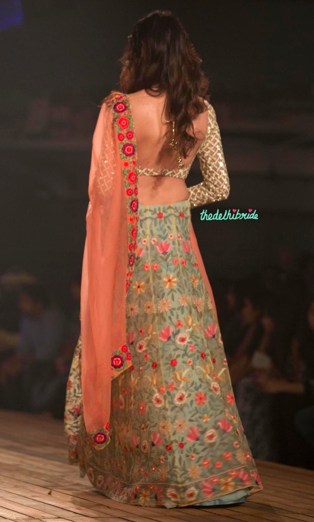 Top Picks Pale Blue Floral 3D Applique Lehenga with Silk lattice Blouse Sunset Oranage Dupatta 3 - Monisha Jaising - Amazon India Couture Week 2015