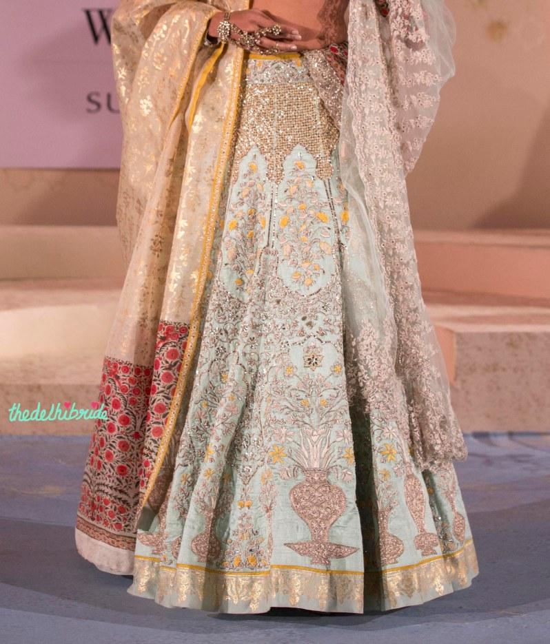Top Picks - Pale Blue Jaali work Lehenga with Gold Foil Print Border and Silk dupatta - Anju Modi - Amazon India Couture Week 2015