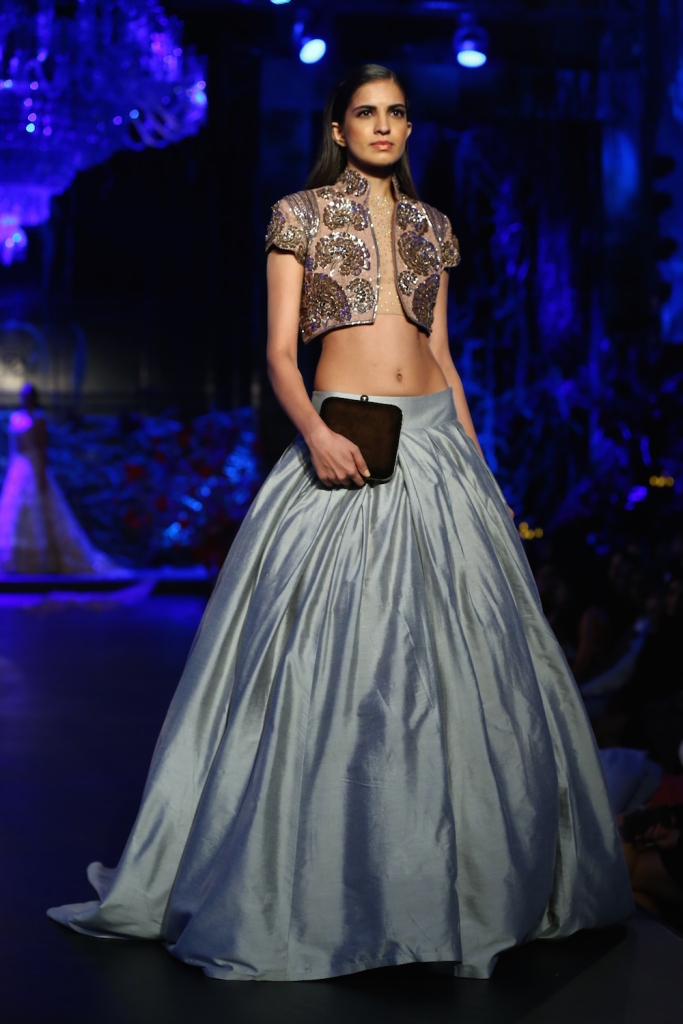 Top Picks Pale Blue Lehenga Skirt with Dusty Pink Jacket with Dust Gold Mushroom Flower Motifs - Manish Malhotra - Amazon India Couture Week 2015 high res