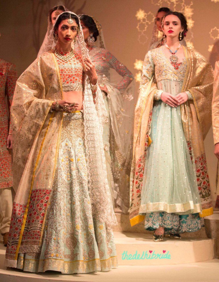 Top Picks - Pale Blue Lehenga with Jaali work and Sitara work with emrboidered floral motif yoke Anarkali - Anju Modi - Amazon India Couture Week 2015