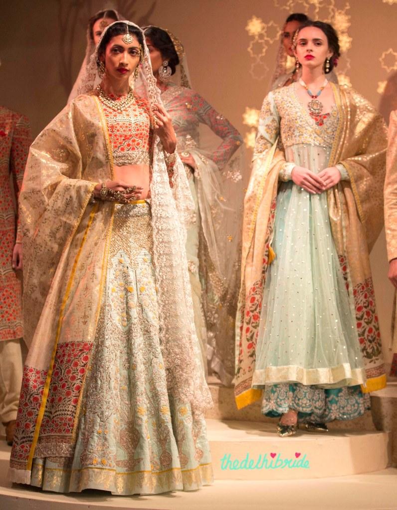 Top Picks - Pale Blue Lehenga with Jaali work and Sitara work with emrboidered floral motif yoke Anarkali - Anju Modi - Amazon India Couture Week 2015