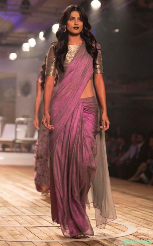 Top Picks Pale Windsor Wine Silk Organza Saree with Metallic Grey Blouse - Monisha Jaising - Amazon India Couture Week 2015