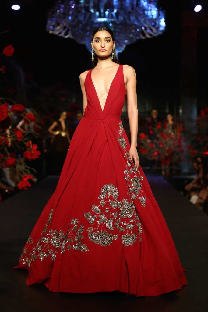 Top Picks Red Gown with Gold Mushroom Flower Motifs 1 - Manish Malhotra - Amazon India Couture Week 2015 high res