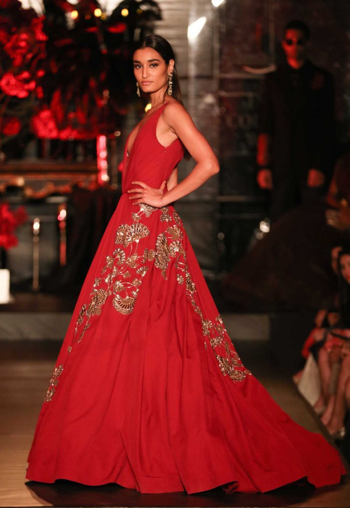 Top Picks Red Gown with Gold Mushroom Flower Motifs 2 - Manish Malhotra - Amazon India Couture Week 2015