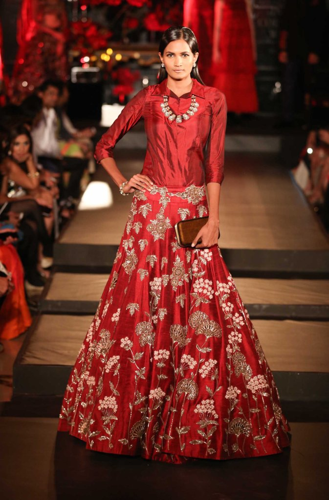 Top Picks Red Lehenga with Embroidered Dust Gold Floral Motifs and Silk Cranberry Red Shirt - Manish Malhotra - Amazon India Couture Week 2015
