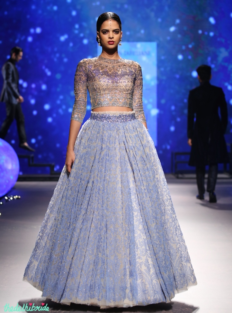 Top Picks - Tulle Organza Lehenga Skirt with Swarovski Crystals Encrusted Blouse 1 - Tarun Tahiliani - BMW India Bridal Fashion Week 2015