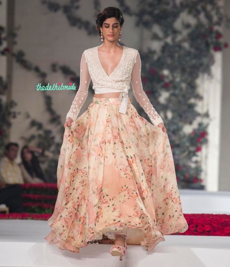 Top Picks White Bubble Sheer Top with Floral Georgette Pleated Maxi Skirt 1 - Varun Bahl - Amazon India Couture Week 2015