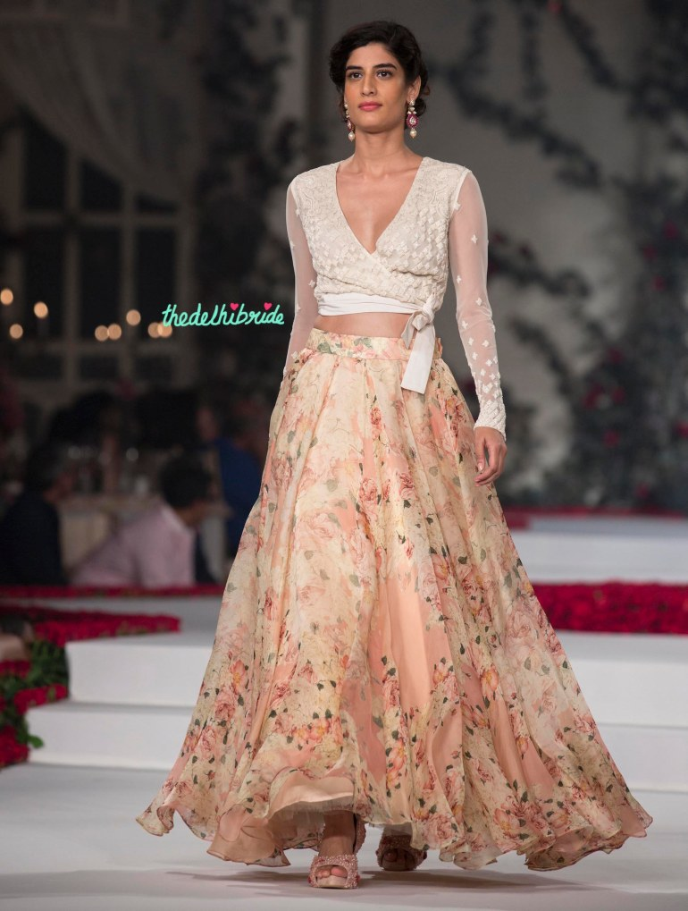 Top Picks White Bubble Sheer Top with Floral Georgette Pleated Maxi Skirt 2 - Varun Bahl - Amazon India Couture Week 2015