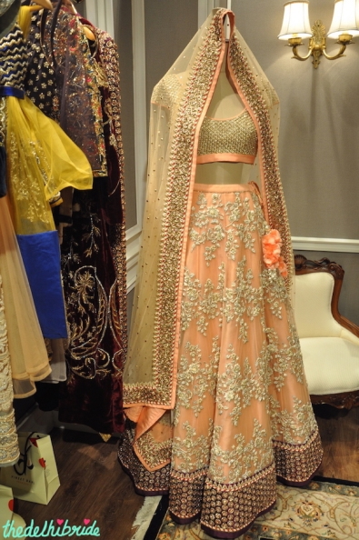 Vineet Bahl Premiere - Peach Embroidered Lehenga with Gold textured blouse - Vogue Wedding Show 2015