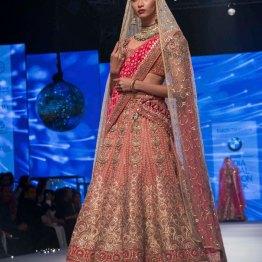 Wedding lehenga with dual dupatta and moon shaped motifs 2 - Tarun Tahiliani - BMW India Bridal Fashion Week 2015