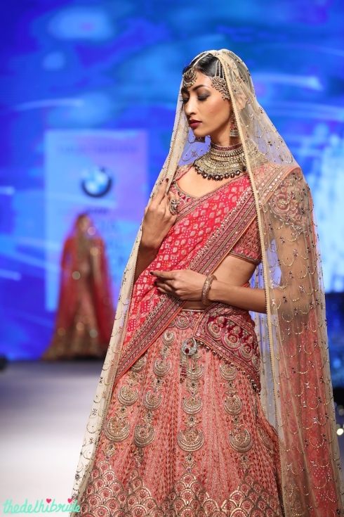 Wedding lehenga with dual dupatta and moon shaped motifs - Tarun Tahiliani - BMW India Bridal Fashion Week 2015