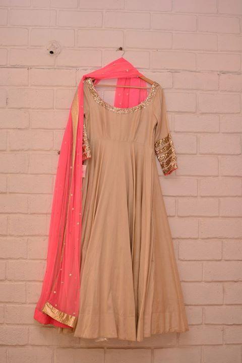 Beige plain anarkali with khichdi sequinned sleeve border and neon pink dupatta - Abhinav Mishra - Best Shahpur Jat boutique designer for bridal wear