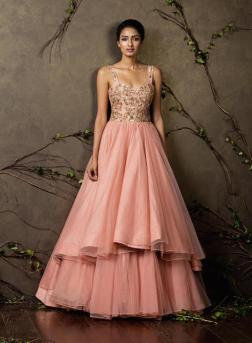 Blush pink gown with embroidered yoke - Shyamal and Bhumika New Collection 2015 - A Little Romance - Autummn-Winter Collection 2015