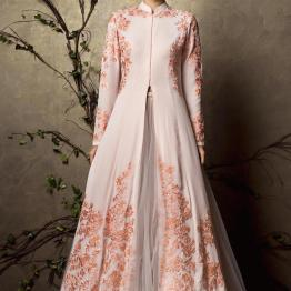Blush pink jacket lehenga with a tulle lehenga and lightly embroidered jacket - Shyamal and Bhumika New Collection 2015 - A Little Romance - Autummn-Winter Collection 2015